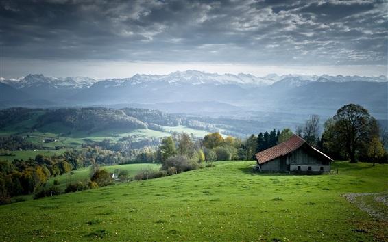 Fond d'écran Herbe verte, arbres, maisons, village, nuages
