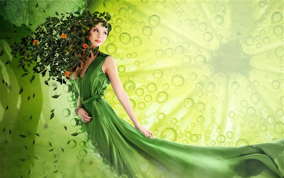 Wallpaper Green skirt fantasy girl, leaves, art picture