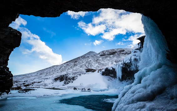 Wallpaper Grotto, cave, ice, snow, winter, blue sky, clouds