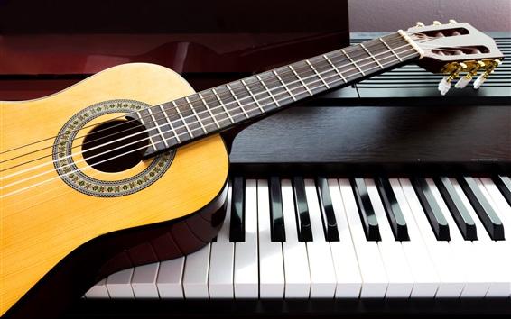 Wallpaper Guitar and piano, music theme
