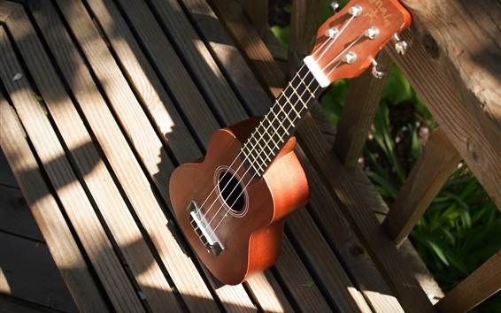 Wallpaper Guitar, wood fence, sunshine