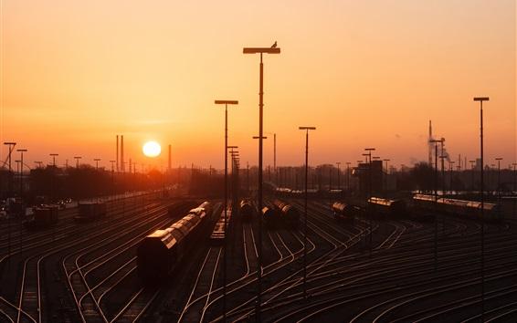 Wallpaper Hamburg, rail station, railroad, sunset, Germany