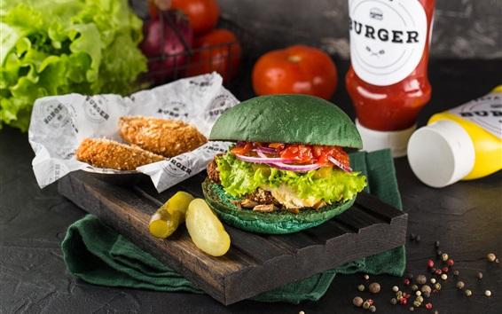 Wallpaper Hamburger, potatoes, food
