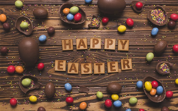 Wallpaper Happy Easter, colorful eggs, chocolate