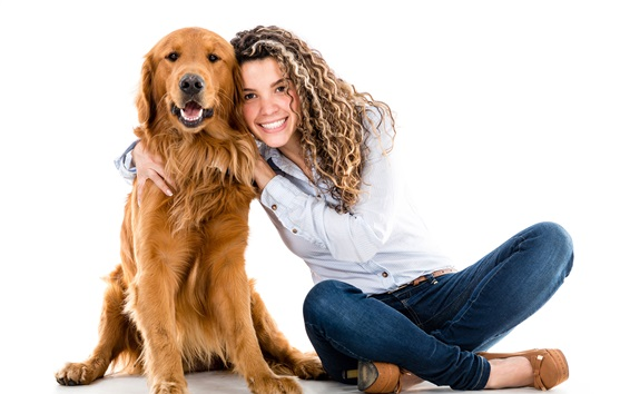 Wallpaper Happy girl and dog, hair style