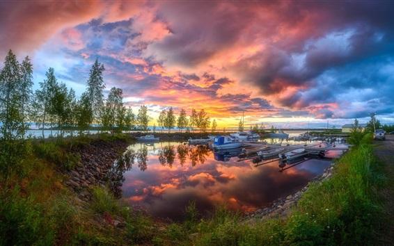 Fond d'écran Port, soirée, bateaux, arbres, lac, été