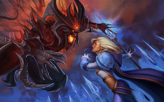 Wallpaper Heroes of the Storm, girl and monster, Warcraft