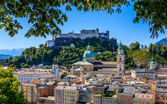 Wallpaper Hohensalzburg Castle, Salzburg, Cathedral, fortress, city, Austria