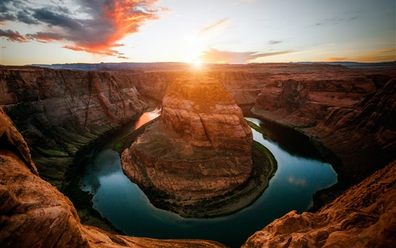 Wallpaper Horseshoe Bend, river, canyon, sunset, Colorado, USA