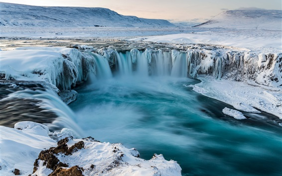 Wallpaper Iceland, Godafoss, waterfall, snow, winter, cold