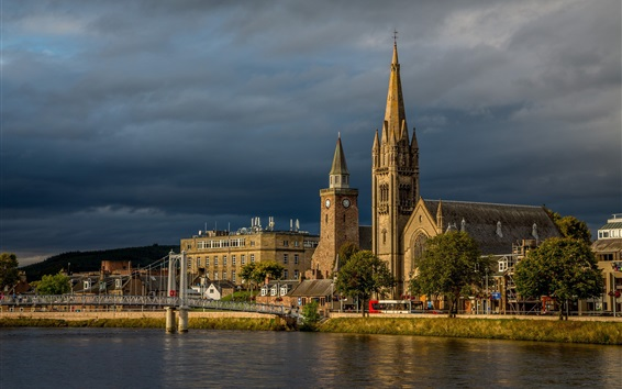 Wallpaper Inverness, church, Scotland, river, bridge, clouds, storm