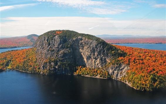 Обои Остров, деревья, озеро, осень