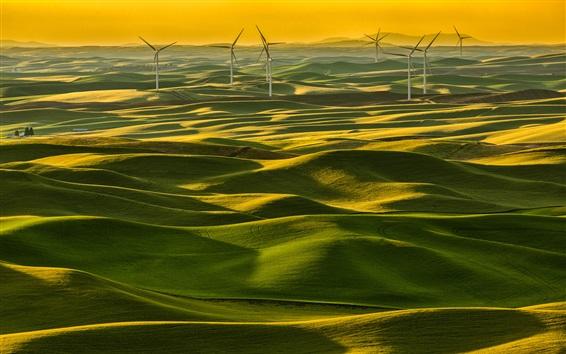 Wallpaper Italy, Tuscany, green fields, windmills