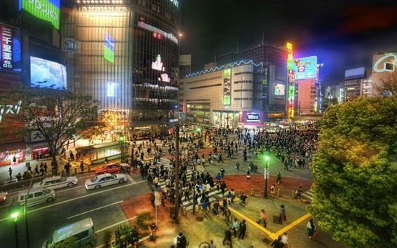 Wallpaper Japan, Tokyo, city at night, street, buildings, lights, people