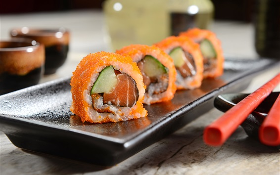 Wallpaper Japanese cuisine, caviar, sushi rolls