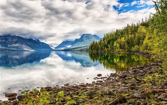 Wallpaper Lake, mountains, water reflection, forest, clouds