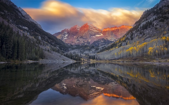 배경 화면 호수, 나무, 산, 황혼