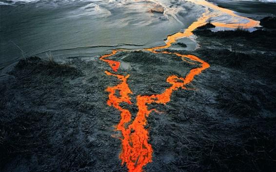 배경 화면 검은 용암 용암