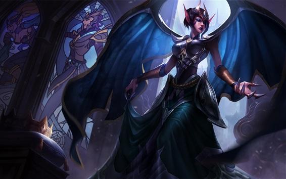 Papéis de Parede League of Legends, garota de fantasia, asas, elf, hall