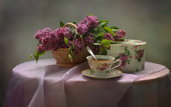 Обои Сирень, цветы, чай, деревянный стол