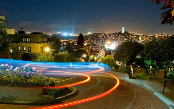 Wallpaper Lombard, village, night, lights, San Francisco, California, USA