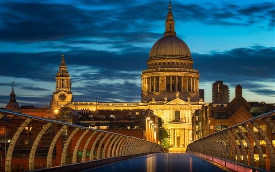 Wallpaper London, England, Palace, Millennium Bridge, night, lights