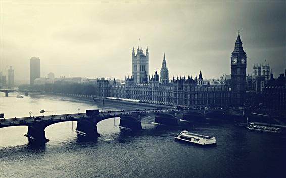 Wallpaper London, city, bridge, river, retro style