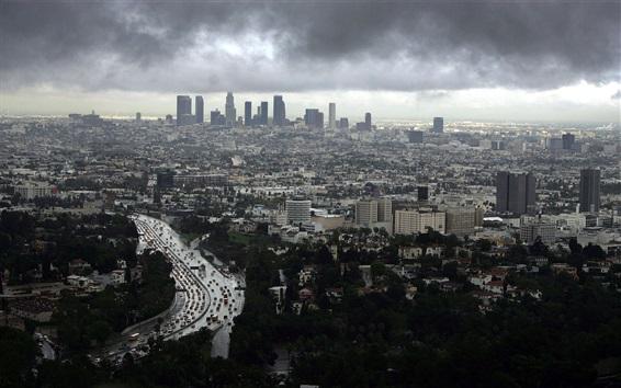 Wallpaper Los Angeles, cityscape, buildings, clouds, dusk, USA