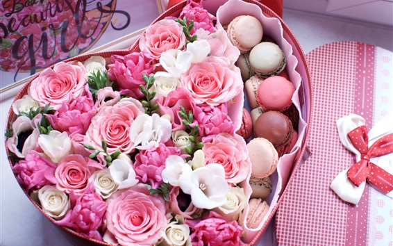 Wallpaper Love heart shaped box, macaroon, pink roses