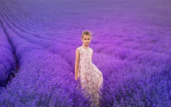Fondos de pantalla Encantadora niña, campo de flores de lavanda
