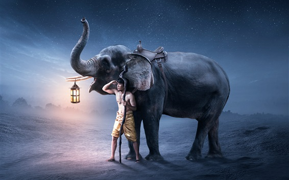Wallpaper Man and elephant, lantern, creative picture