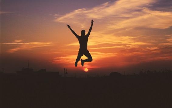 Wallpaper Man jumping, silhouette, sky, sunset