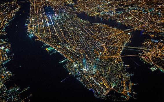 Papéis de Parede Manhattan, nova iorque, cidade, noturna, vista superior, luzes, arranha-céus, eua