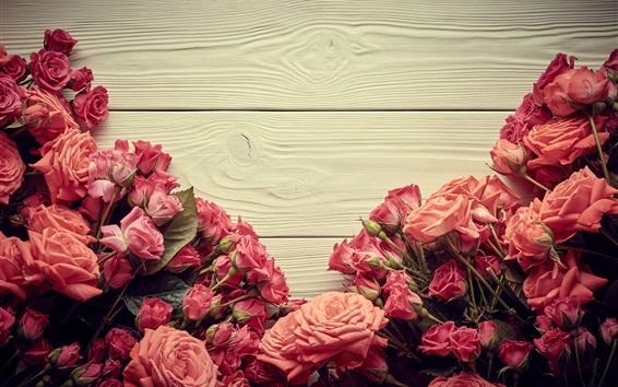 Fondos de pantalla Muchas rosas rosadas, fondo de madera