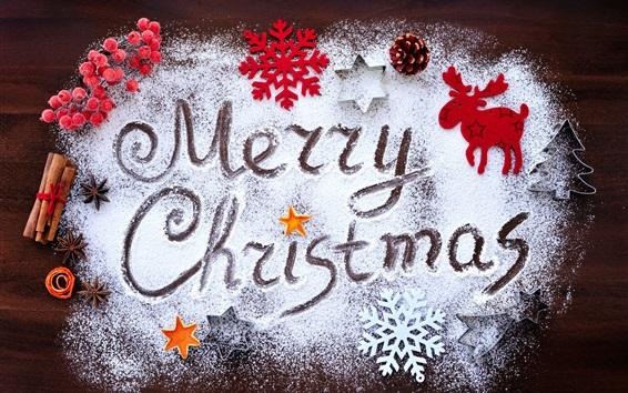 Wallpaper Merry Christmas, snowflakes, deer, berries