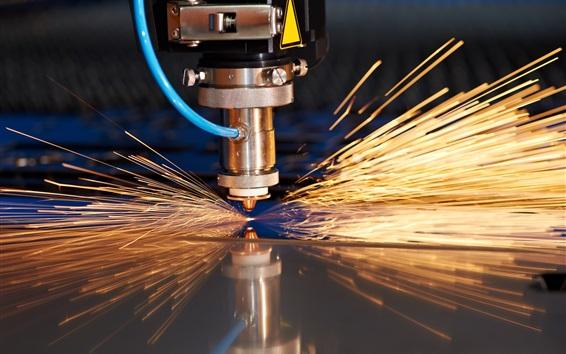 Wallpaper Metallurgy, steel cutting machine, sparks, factory