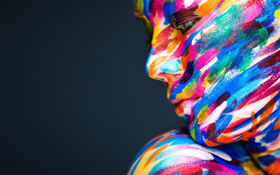 Wallpaper Model girl face, colorful paint, art photography