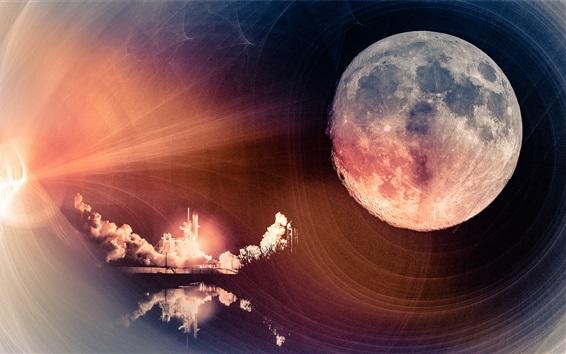 Fondos de pantalla Luna, espacio, nave espacial, diseño de arte
