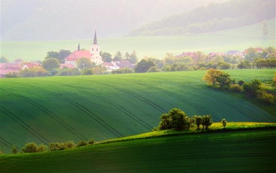 Papéis de Parede Moravia, campos, árvores, primavera, capela, república tcheca