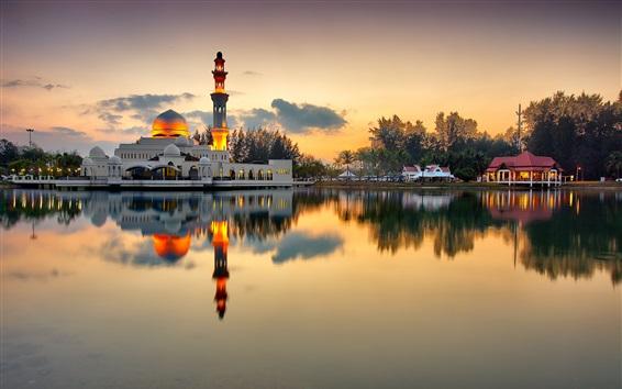 壁紙 モスク、ミナレット、湖、夕方、日没