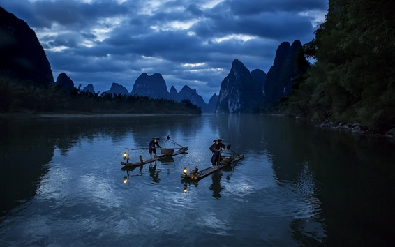 Wallpaper Mountains, river, boats, fisherman
