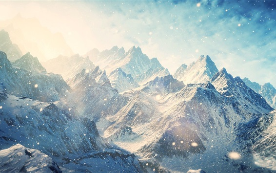 Wallpaper Mountains, snowy, winter
