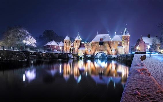 Wallpaper Netherlands, castle, river, bridge, snow, lights, night