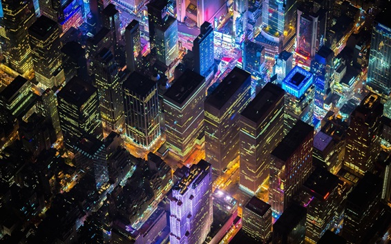 Wallpaper New York, USA, cityscape, night, skyscrapers, lights