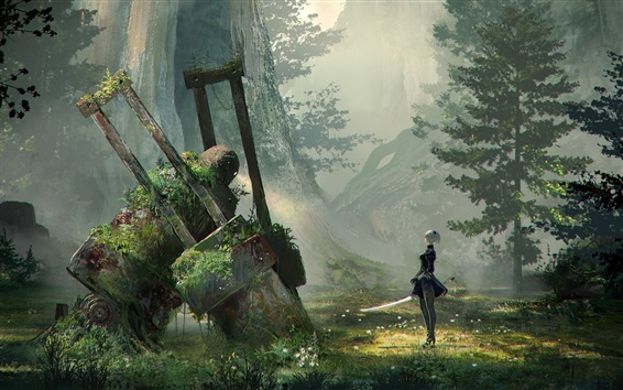 Wallpaper Nier: Automata, forest, sword, robot