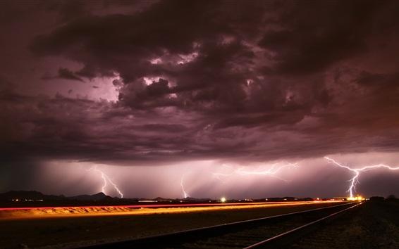 Fond d'écran Nuit, chemin de fer, nuages, éclairs, tempête