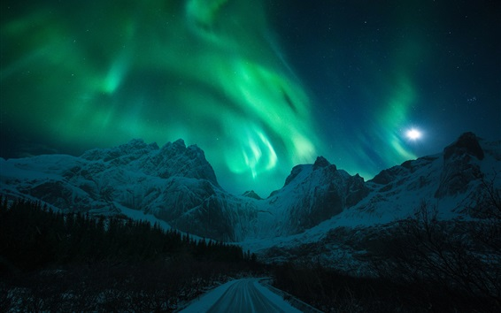 Wallpaper Northern lights, snow, mountains, winter, road, night