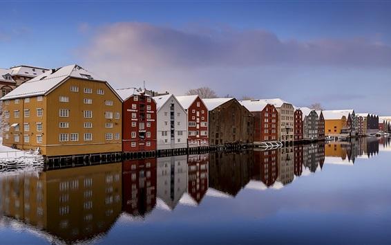 壁紙 ノルウェー、トロンハイム、川、雪、冬、住宅、カラフル