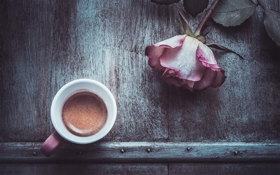 Wallpaper One cup coffee, rose, wood table