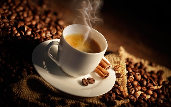 Wallpaper One cup coffee, steam, coffee beans, cinnamon